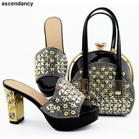 Rhinestone Women Party Pumps with Purse Luxury Shoes Designers High Heels Slip on Lady Pumps Women Shoes and Bag Set In Italy