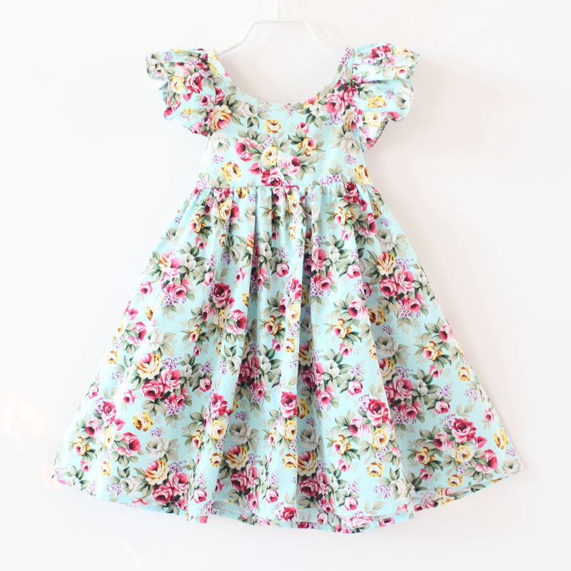 31832e03f2e7 2018 Summer Baby Girls Dress Brand Beach Style Floral Print Party Backless  Dresses Kids Flutter Sleeve