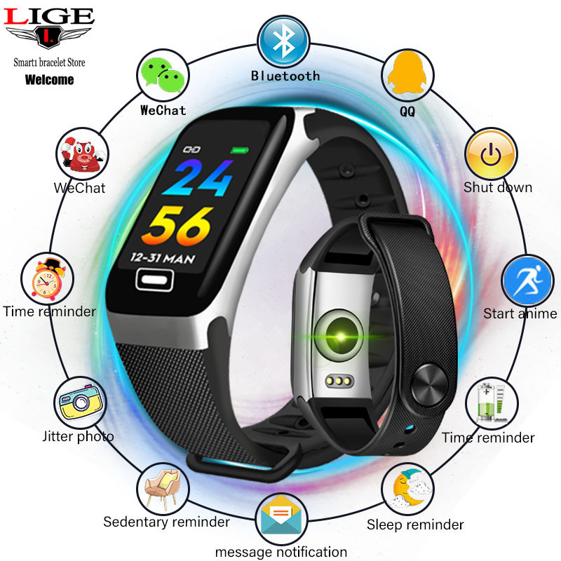 LIGE New Smart Bracelet Health Monitor Heart Rate / Blood Pressure / Waterproof Pedometer Sports Bracelet For Men Women's Watch-in Smart Wristbands from Consumer Electronics
