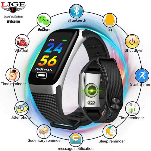 LIGE جديد سوار ذكي رصد الصحة معدل ضربات القلب/ضغط الدم/مقاوم للماء عداد الخطى سوار رياضي للرجال ساعة نسائية