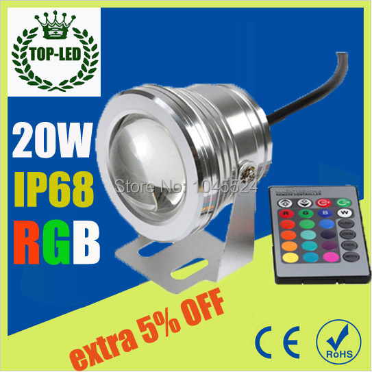 20W 12v underwater RGB Led Light 1000LM Waterproof IP68 fountain pool Lamp Lights16 color change + 24key IR Remote controller