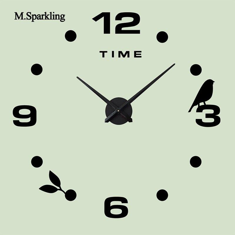 M. Berkilau dekoratif jam dinding 3D ukuran besar kreatif jam burung desain  tidur digital DIY jam unik hadiah rumah decoratio di Wall Clocks dari Rumah  ... 66068eca86
