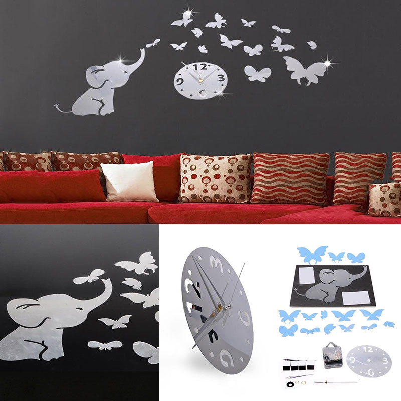 3D Elephant Butterfly Silent Decorative Hanging Wall Clock Livingroom Home Deco Wall Sticker Clock for Kids Room Decoration