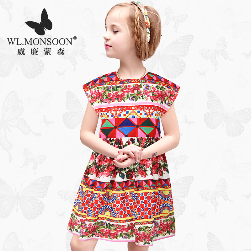 W.L.MONSOON Girls Dress Summer 2017 Brand Kids Dresses Princess Costume Robe Noel Fille Floral Children Dress for Girl Clothes girls dresses summer 2016 brand christmas dress princess costume robe fille enfant floral print kids dresses for girls clothes