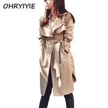 OHRYIYIE Autumn Winter Women Trench Coat 2017 Fashion Long Outwear Plus Size Slim Trench Coat for Women With Belt Female Coat