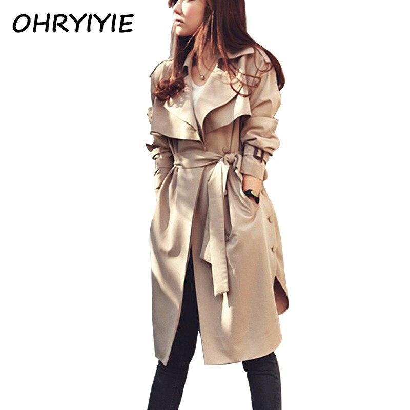 Ohryiyie Autumn Winter Women Trench Coat 2018 Fashion Long