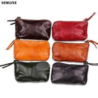 SIMLINE Genuine Leather Coin Purse Women Vintage Handmade Small Mini Wallet Card Holder Bag Case Zipper Change Female Purses