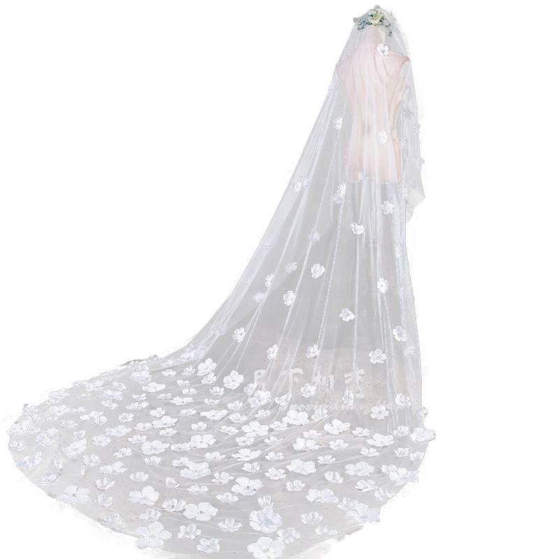 3 M Ein-schicht Frauen Tüll Ultra-lange Nachgestellte Hochzeit Schleier Romantische Unregelmäßige Fünf Blätter Blumen Appliques Kathedrale Braut Schleier