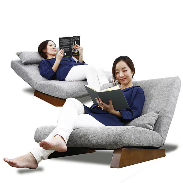 LK29 Quality Folding Natural Linen Sleeping Bed Modern Lazy Sofa Couch Tatami Adjustable Backrest Widen Chair with Wood Feet