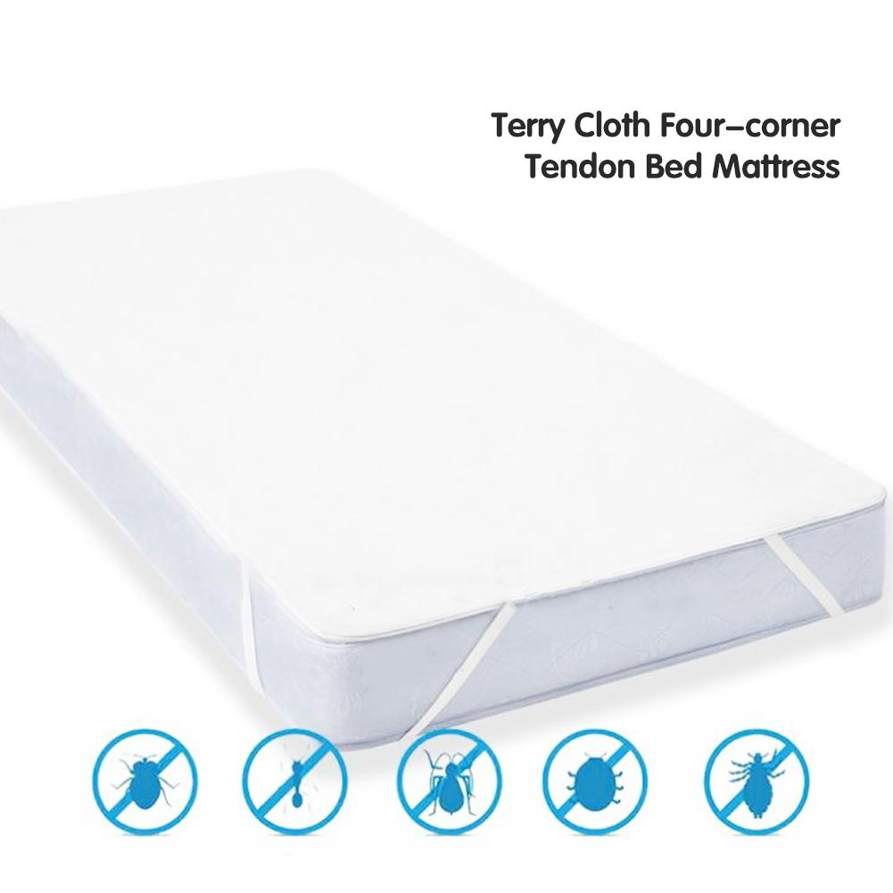 1PCs New Four - Corner Tendon Terry Cloth Waterproof Bed Cover Waterproof Mattress Protector For Home