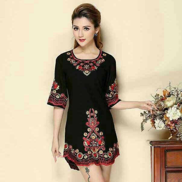 95fcea7e44f wholesale High Quality Noble O Neck Half Sleeve Black 3D Mexican Floral  Embroidery Slim Women s Mini Dress Plus Size S-XXXL