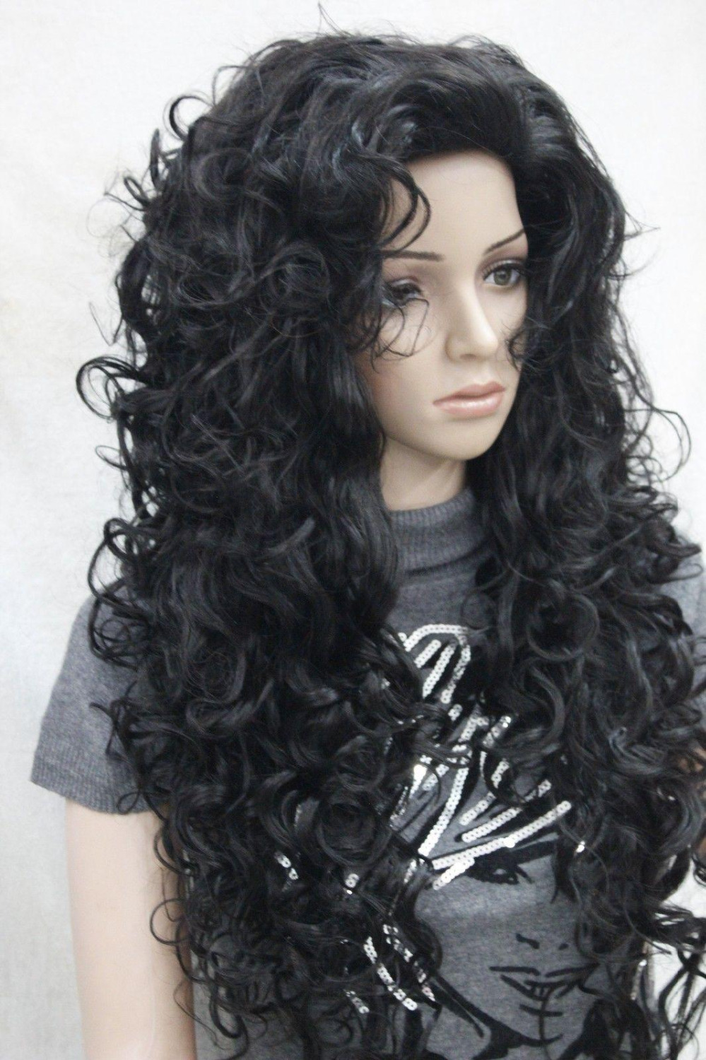 100% Brand New High Quality Fashion Picture full lace wigs>>2015 fashion sexy off black 30 long messy curls woman's full женское платье fashion 2015 fashion 2015