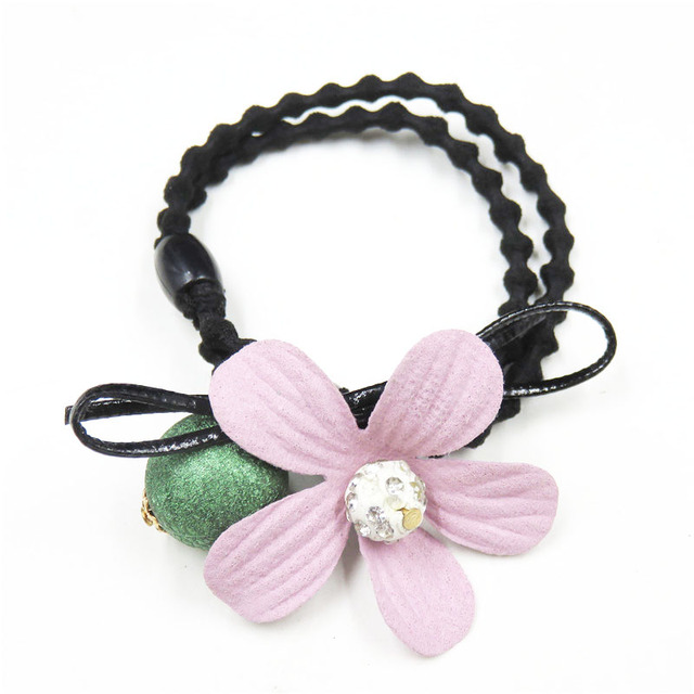 1PCS Lovely Clover Gray Ball Elastic Hair Bands Toys For Girls Handmade Bow Headband Scrunchy Kids Hair Accessories For Womens