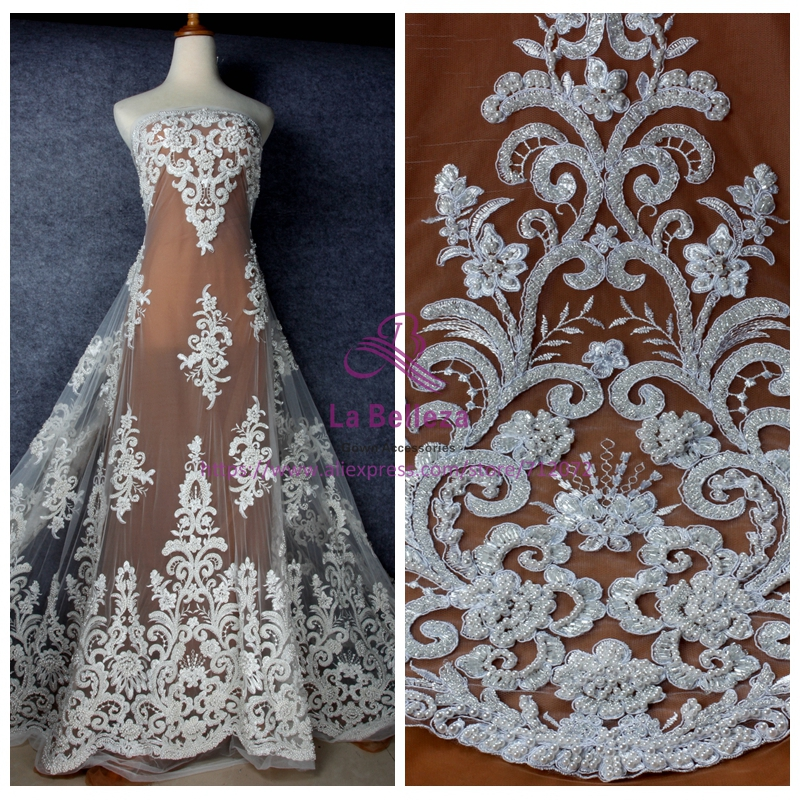 La Belleza Fashion style Off white pure whithandmade beading lace fabric wedding evening dress lace fabric