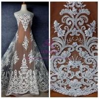 La Belleza Fashion style Off white/pure whithandmade beading lace fabric wedding/evening dress lace fabric 49'' width 1 yard