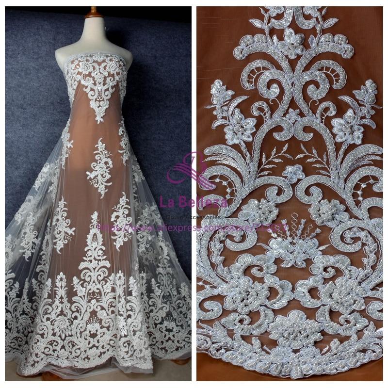 La Belleza mode style blanc cassé/pur whithandmade perles dentelle tissu mariage/soirée robe dentelle tissu 49 ''largeur 1 yard-in Tissu from Maison & Animalerie    1