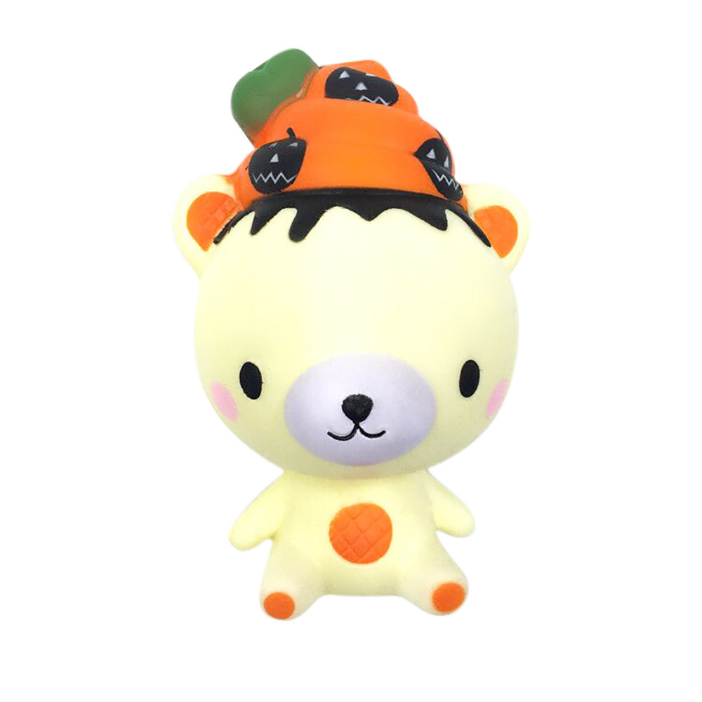 MUQGEW Squishy Poo Pumpkin Bear Relieve Anxiet Squeeze Slow Rising Fun Toy Gift
