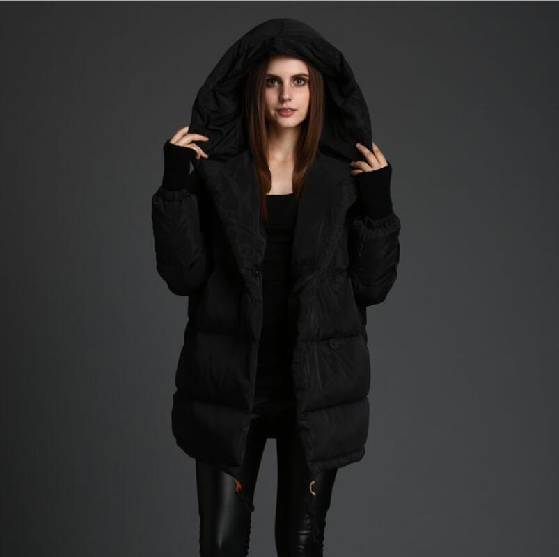 European and American style Women Loose white duck down long down jacket High quality womens Winter Coat Brand winter jacket
