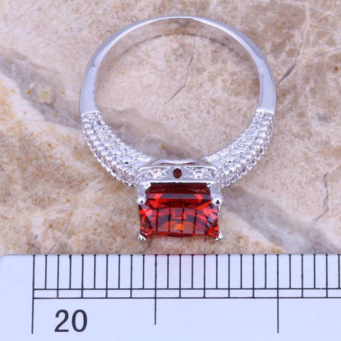 Mempesona Merah Garnet Putih CZ Cincin Berlapis Perak Ukuran 6 / 7 / 9 E475