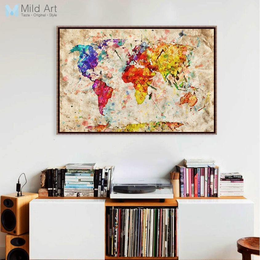 Colorful Vintage Room: Colorful Vintage Retro World Geography Map A4 Large Art