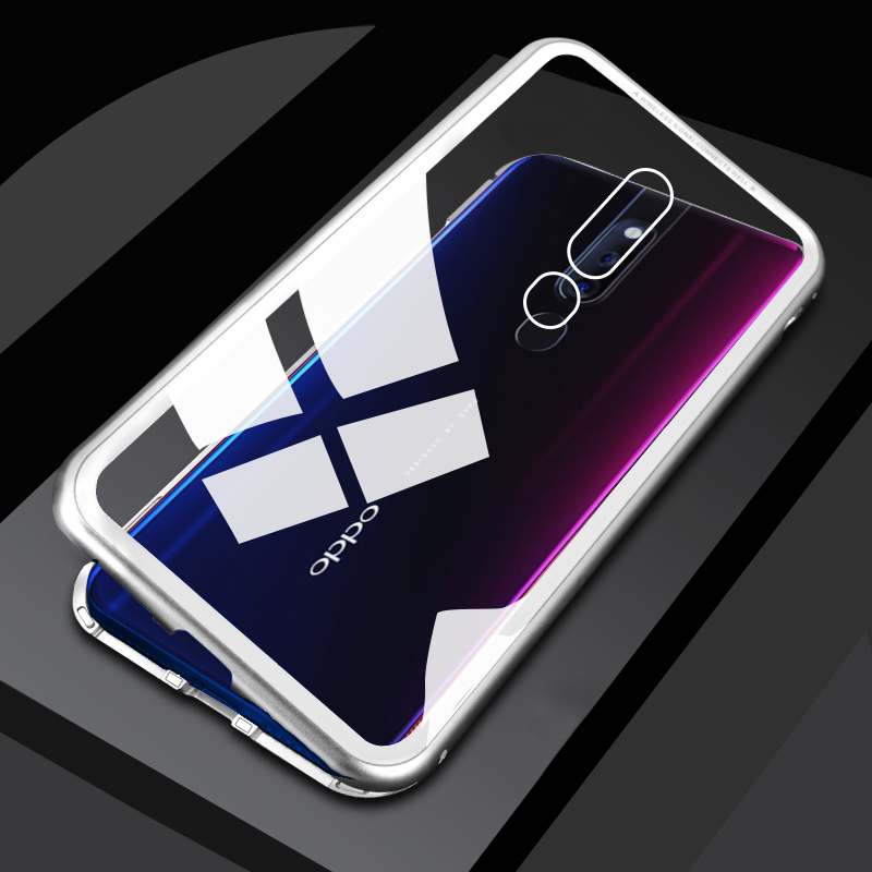 Magnetic Adsorption <font><b>Case</b></font> for <font><b>Oppo</b></font> f11 pro F7 A7 A5 <font><b>A3S</b></font> F9 A7X <font><b>Case</b></font> Clear <font><b>Glass</b></font> Luxury Metal Frame Cover for <font><b>OPPO</b></font> Realme 3 Pro image