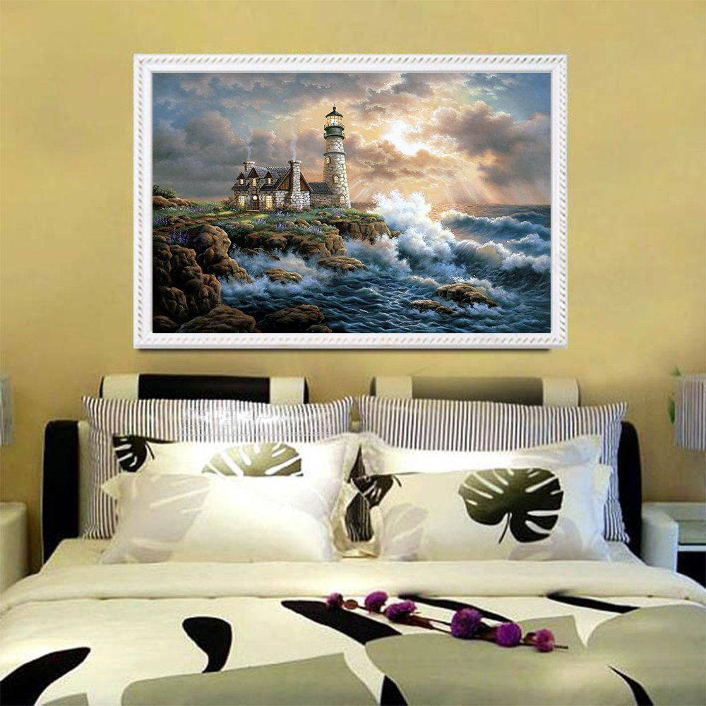 GLymg Diy Diamond Painting Cross Stitch Lighthouse Seaside Scenery Full Drill Paint By Diamonds Wall Stickers Living Room Decor in Diamond Painting Cross Stitch from Home Garden