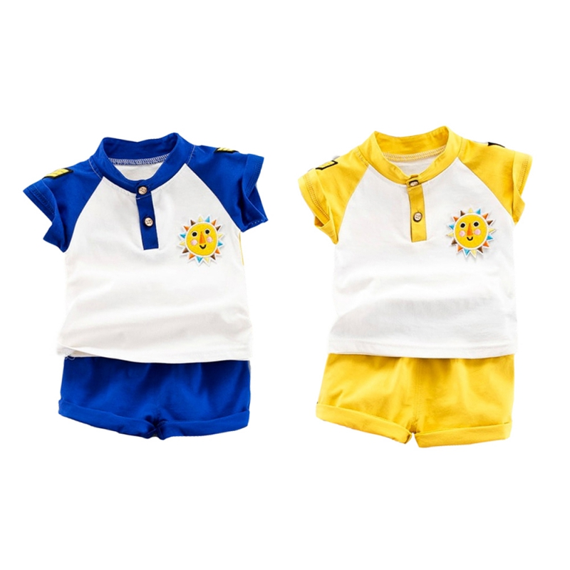 NewMandarin Collar Yellow/Blue Summer Baby Boys Short Sleeve Striped Letter Print Tops Blouse T shirt+Shorts Casual Outfits Sets
