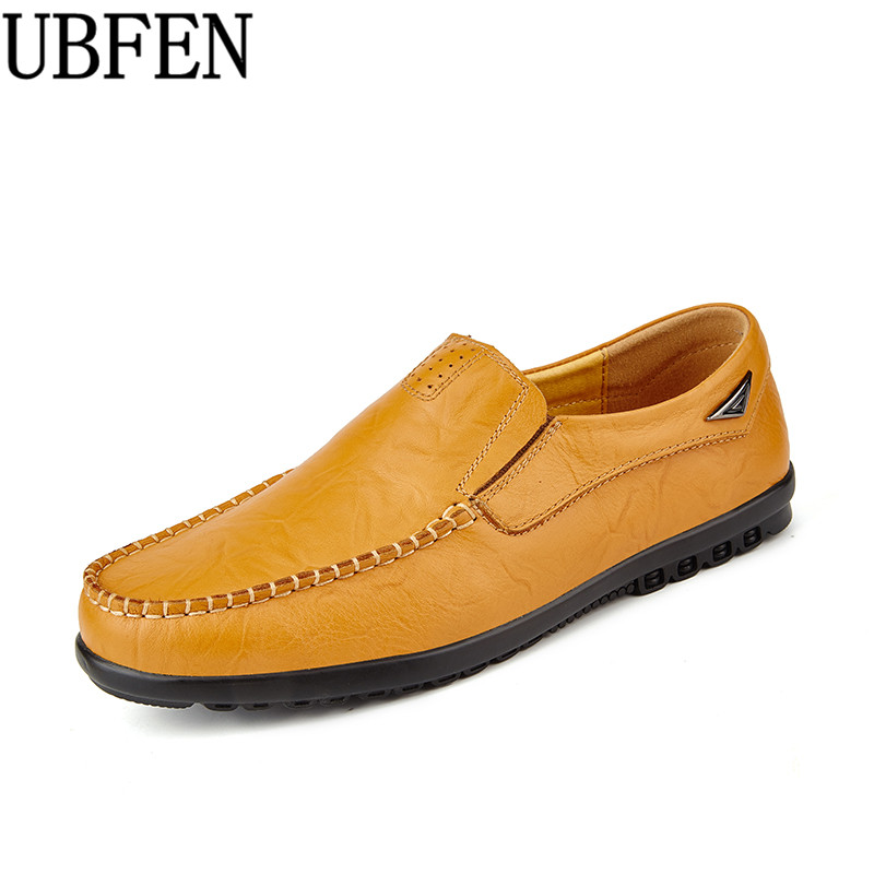 UBFEN Hot Sale Handmade High Quality Split Leather Men Breathable Causal Shoes For Adult Slip-on Business Lazy Driving Shoes zdrd hot sale handmade high quality genuine leather men flats breathable causal loafers shoes slip on business lazy driving shoe