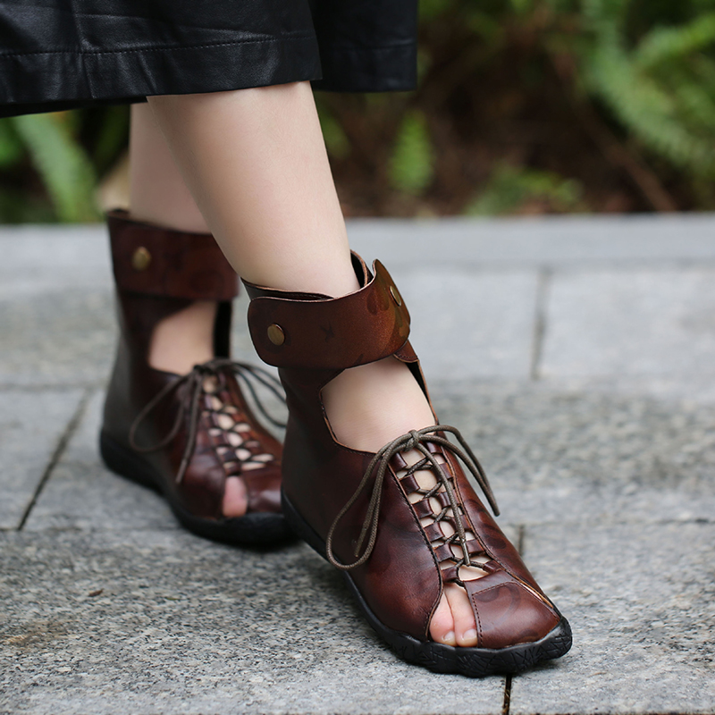 2019 Summer Women Boots New Arrival Genuine Leather Peep Toes Lace Up Summer Lady Cool Ankle