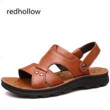 Купить с кэшбэком 2019 Summer Men Sandals Cow Leather Men Summer Beach Sandals Breathable Shoes Fashion Men Shoes Comfortable