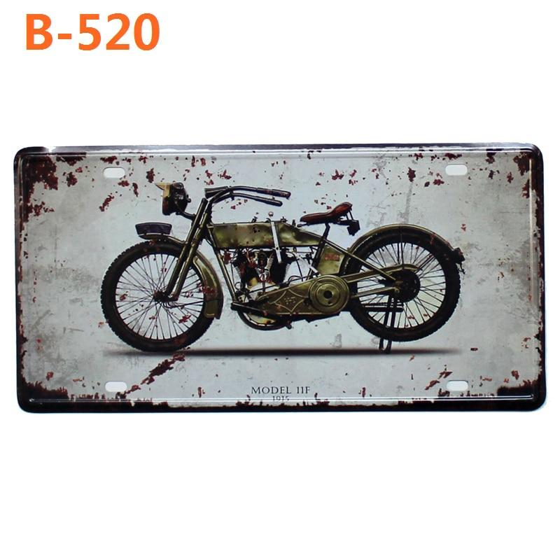 Motorcycle license plate Metal Painting Retro Signs Vintage Wall Bar Ktv Coffee Home Art Decor 30X15CM B-482B