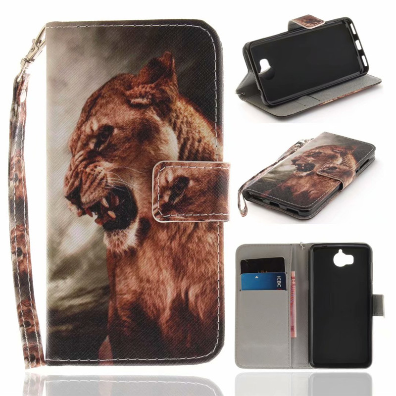 Flip Wallet Case For Huawei Y5 2017 Cases Coque Animal Wolf Owl Tiger Lion Painted PU Leather Phone bags accessories Cover