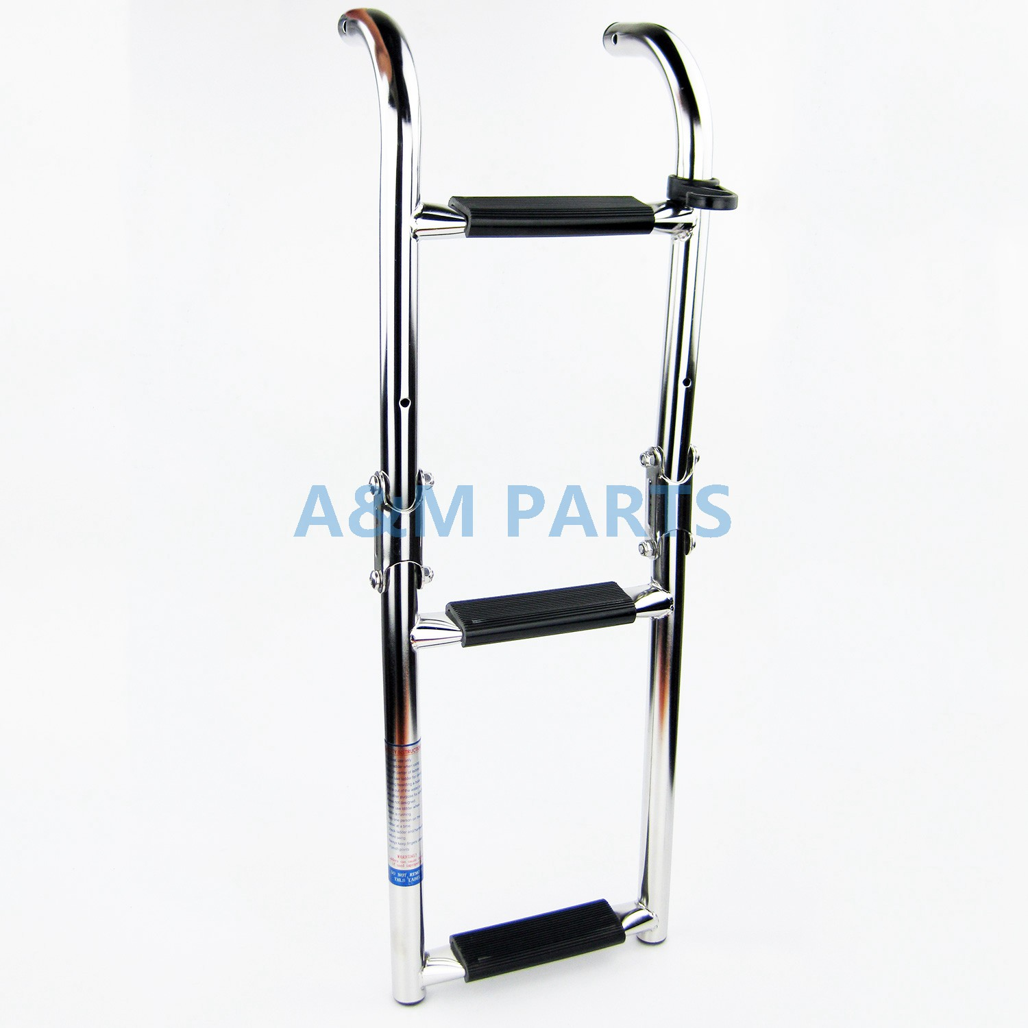 Marine Boat Folding Ladder Pontoon Transom Boarding Ladder 3 Step Narrow Type Stainless