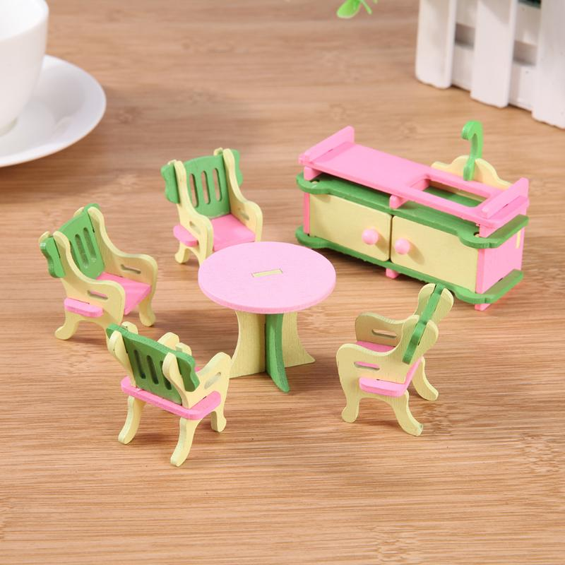 Mini Wooden Furniture Toys Simulation Dollhouse Miniature Furniture Set DIY Educational Pretend Play Toy for Children Gifts