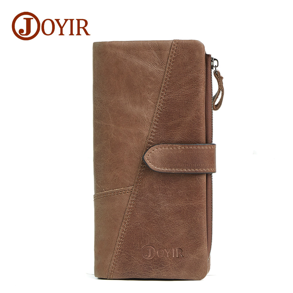 JOYIR Luxury Genuine Leather Men Wallets Coin Pocket Zipper Credit Card Holder Long Vintage Cowhide Male Leather Wallet Purse цена и фото