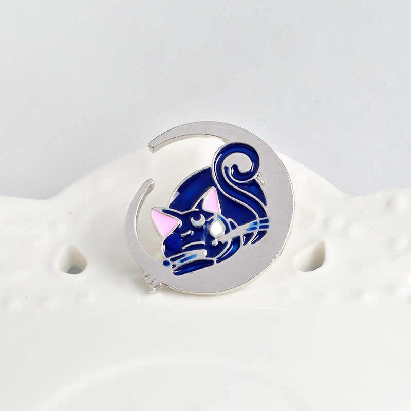Manxiuni 1 pz/set Fashion Sailor Moon Luna Cat Cartoon Spilla Pin Pulsante Borsa Giacca di Jeans Pin