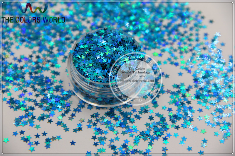 LM-7 Size 3 mm laser holographic  Blue color Glitter paillette Stars shape spangles for Nail Art   DIY supplies1pack=50g holographic darken brown nail art glitter powder diy manicure supplies ab shimmer diamond blue purple green dust nail product