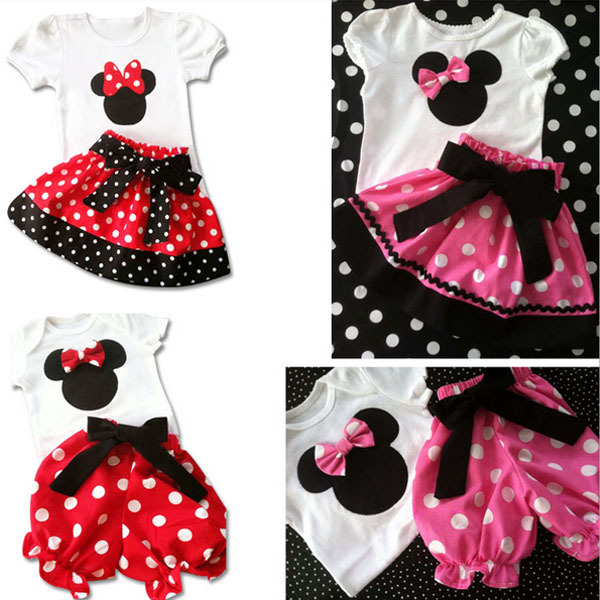 c05e1f386 Girls Sets! Baby girl mickey mouse cartoon short sleeve kids t-shirts +  Short pants or skirt two piece set children clothes set
