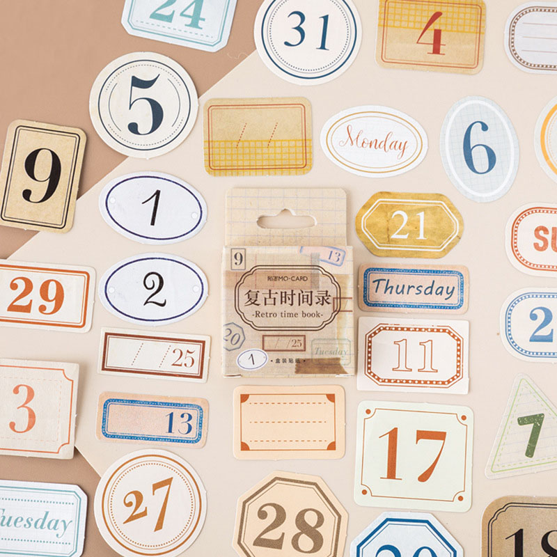 45Pcs Vintage Date Sticker Kawaii Number Sticker Bullet Journal Paper Sticker For Kid DIY Scrapbooking Diary Albums Classic Toys