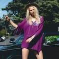 blouse women sexy ladies embroidery cotton purple long sleeve V-neck boho hippie chic blusas fashion women tops 2017 clothing