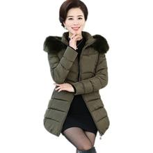 Older Women Cotton Jackets Winter Faux Fox Fur Collar Hooded Cotton Outerwear Mother Women Turtleneck Down