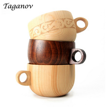 Handmade Natural Spruce Wood Tea water coffee mug with Handgrip tazas Europe Wood wooden beer mugs Drinkware Kitchen Accessories