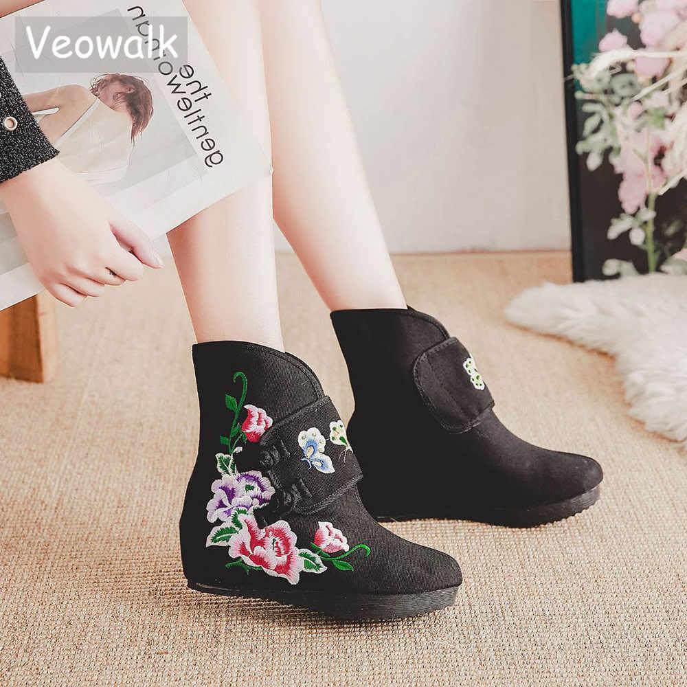 Veowalk 中国刺繍女性キャンバスショートアンクルブーツ隠しウェッジヒールレディースコンフォートデニム冬の秋のブーツ靴