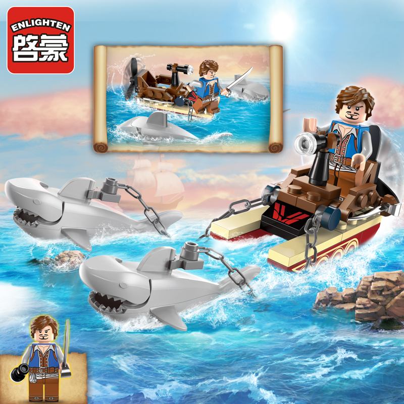 Enlighten Pirate Educational Building Blocks Toys For Children Kids Gifts Shark Boat Compatible With Legoe super cool 115pcs set forklift trucks assembly building blocks kits children educational puzzle toys kids birthday gifts
