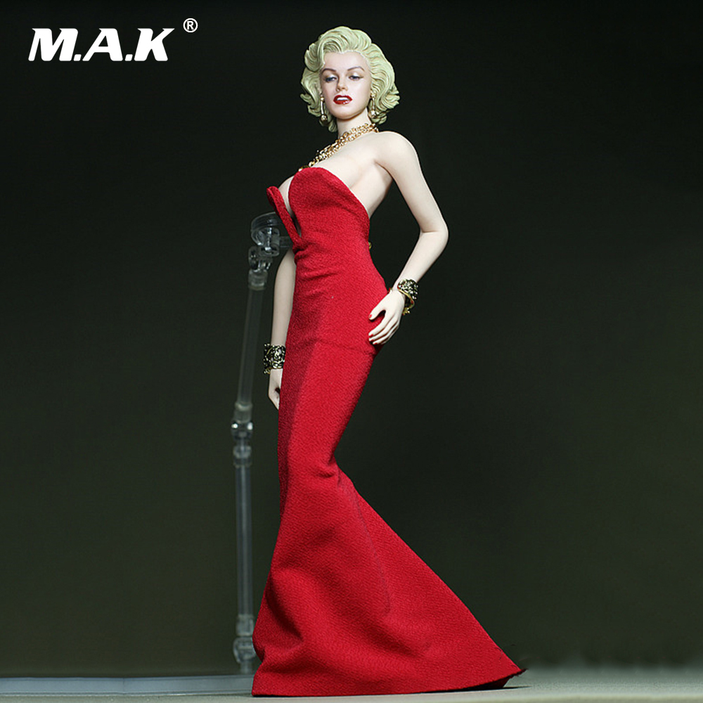 DIY 1:6 Scale Female Clothes Marilyn Monroe Red Dress for 12\