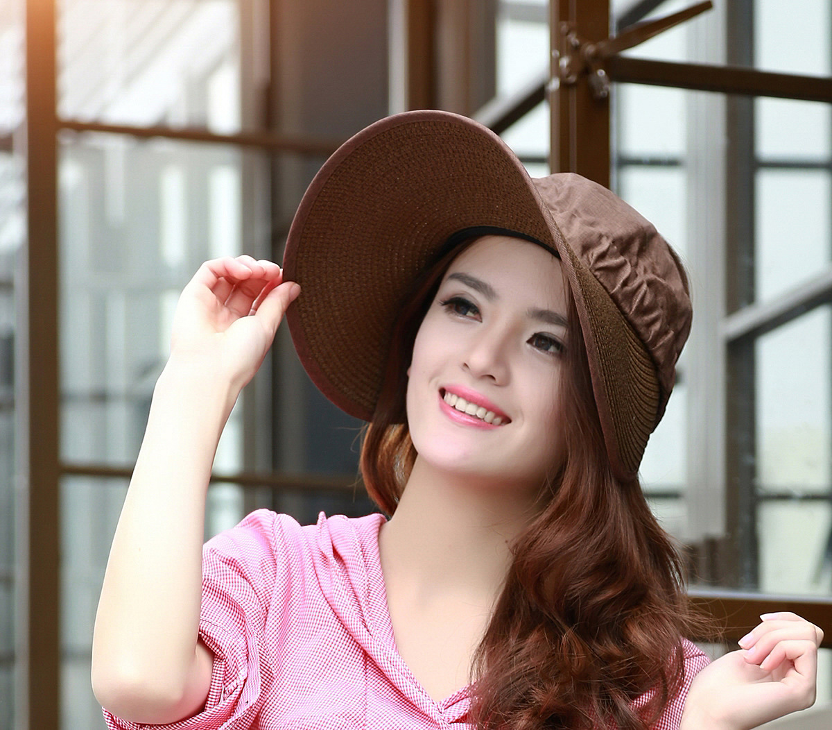 273dfca73d7 2015 New fashion women summer sun cap cloth hat straw hat visor ...