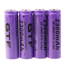 GTF 4pcs 3.7V 14500 2300mAh Battery Li-ion Rechargeable Battery for LED Flashlight Torch 3.7V 14500 Rechargeable Battria gtf 4pcs 3 7v 14500 2300mah li ion rechargeable battery for led flashlight torch