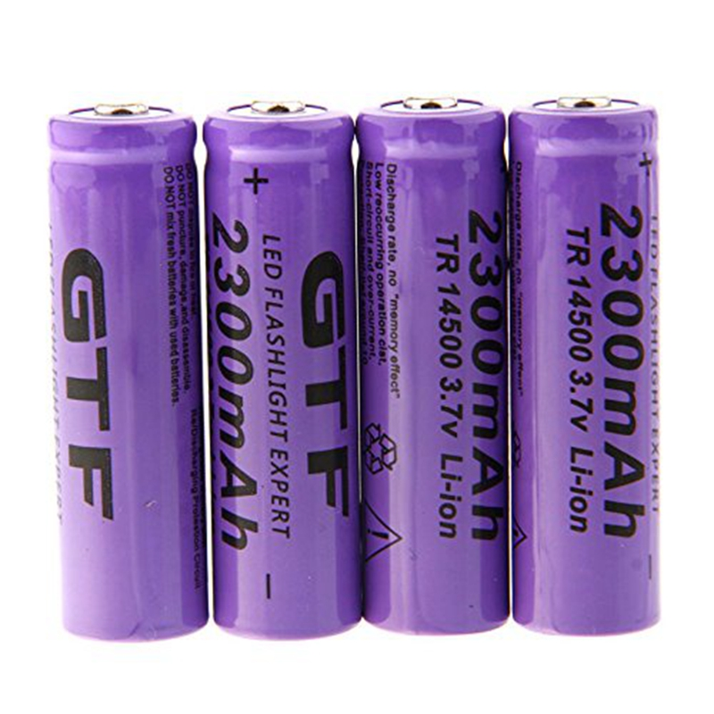 GTF 4pcs 3.7V 14500 2300mAh Li-ion Rechargeable Battery For LED Flashlight Torch 4 8pcs 100% unitek 3 7v 10440 li ion battery 320mah aaa 3a rechargeable lithium ion cell for led laser flashlight torch