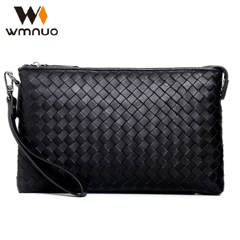 Wmnuo Men Hand Bag Fashion Men Handbag High Quality Men Shoulder Bag Genuine Leather Sheepskin Weaving Men Clutch Wallet Purse цена 2017