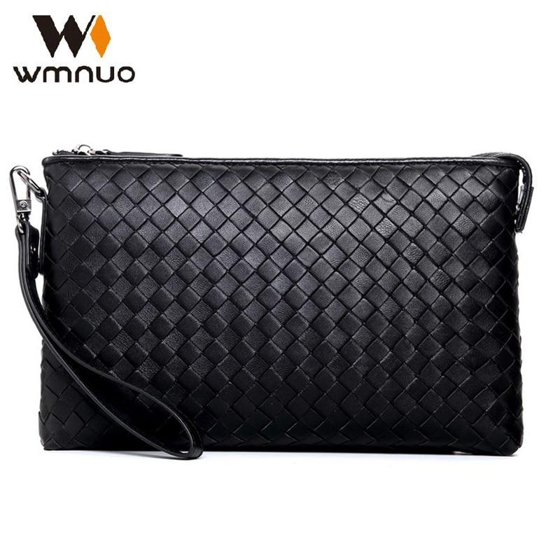 Wmnuo Men Hand Bag Fashion Men Handbag High Quality Men Shoulder Bag Genuine Leather Sheepskin Weaving Men Clutch Wallet Purse